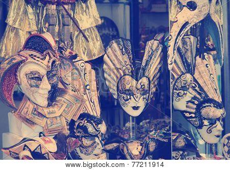 Group of Vintage venetian carnival masks, Venice
