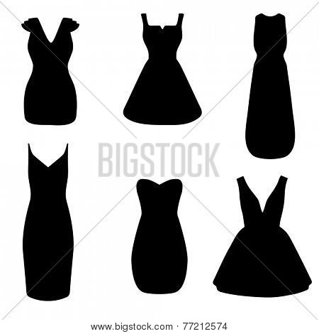 Set of woman little black dresses. Fashion vector illustration