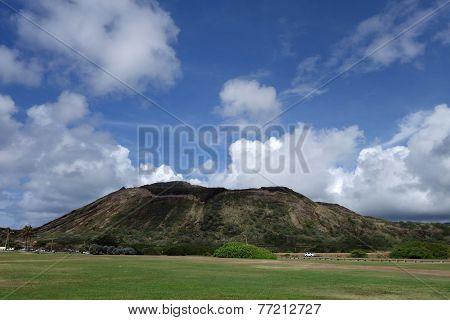 Sandy Beach Park Grass Field And Koko Head Crater