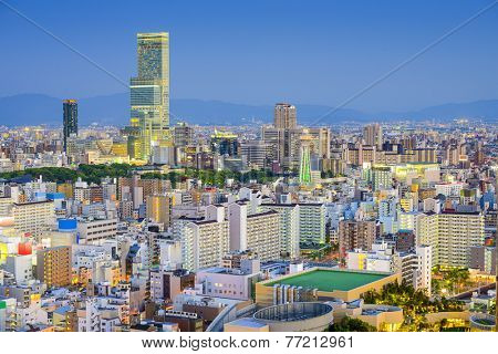 Osaka, Japan cityscape view of Abeno and Shinsekai districts.