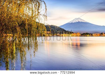 Mt. Fuji at Kawaguchi Lake in Japan.