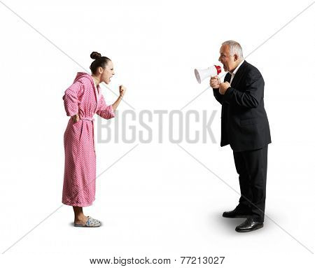 senior man in suit holding megaphone and screaming at angry woman in pink dressing gown. isolated on white background