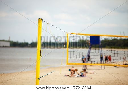 Volleyball Summer Sport. Net On A Sandy Beach