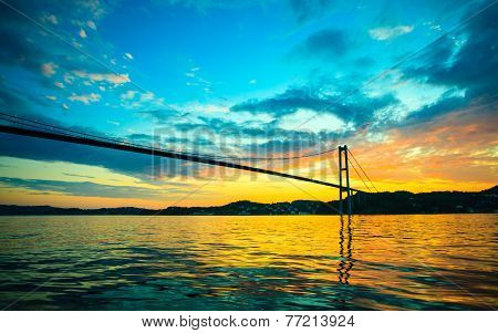 Sunset Over Suspension Bridge In Bergen, Norway