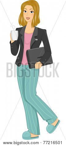 Illustration Featuring a Woman in Pajamas Having Coffee Working From Home