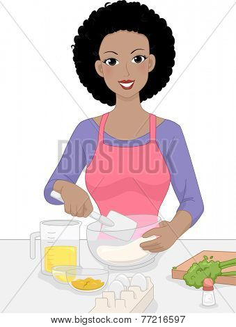 Illustration Featuring a Woman Mixing Baking Ingredients in a Bowl