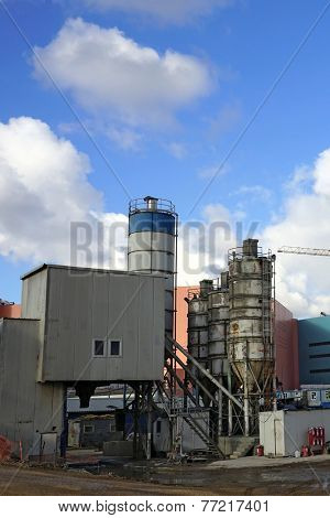 Concrete plant in an industrial zone.