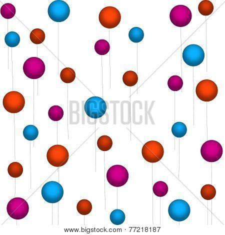 Orange-Pink-Blue Balloons On White