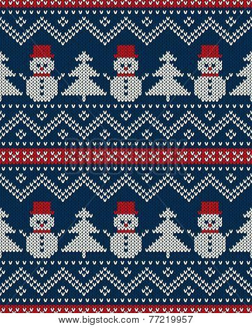 Winter Holiday Seamless Knitted Pattern With Snowman And Christmas Tree