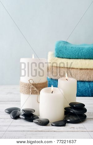 Candles With Bath Towels