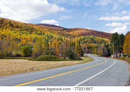Vermont Country Road In Fall