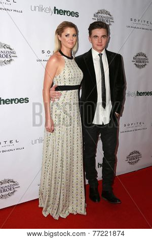LOS ANGELES - NOV 8:  Katie Peterson, Jesse McCartney at the 3rd Annual Unlikely Heroes Awards Dinner And Gala at the Sofitel Hotel on November 8, 2014 in Beverly Hills, CA
