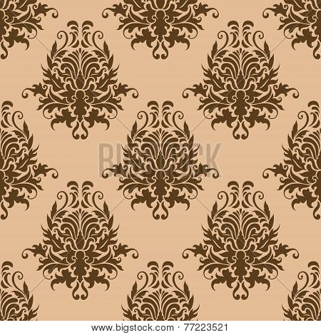 Brown pretty damask style seamless pattern