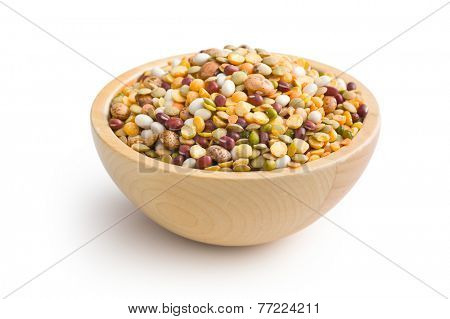 mixture of legumes in wooden bowl