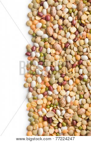 mixture of legumes on white background