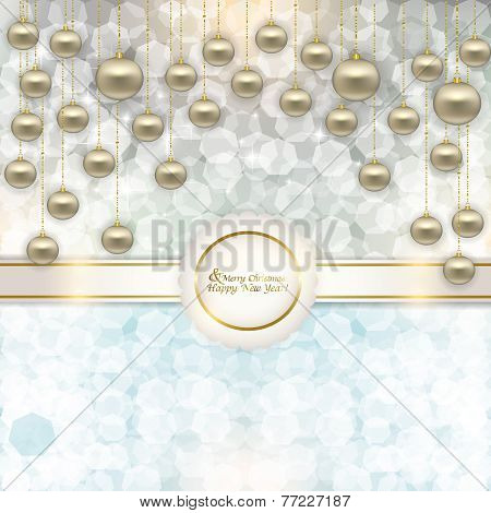 Vector Christmas Abstract Background With Christmas Balls With Ribbon