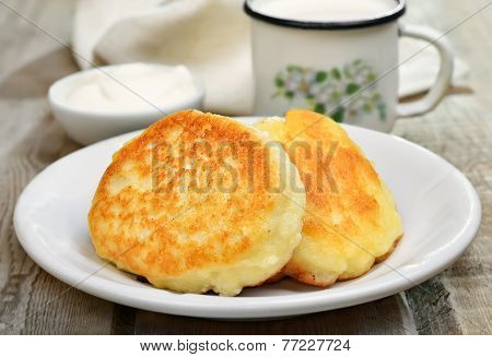 Fritters On Rustic Table