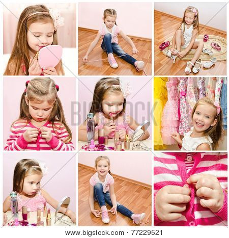 Collection Of Photos Little Girl With Cosmetic
