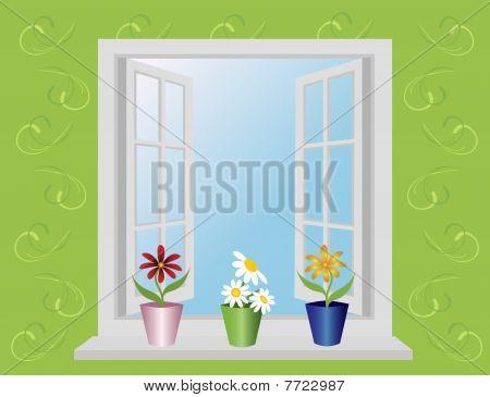 open window with flowers.