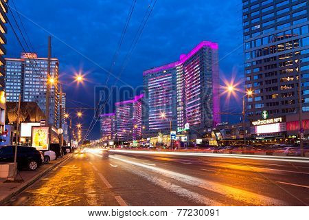 New Arbat Street After Sunset. Moscow. Russia