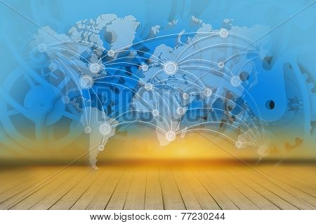 world map on an abstract background mechanism and wooden floor.