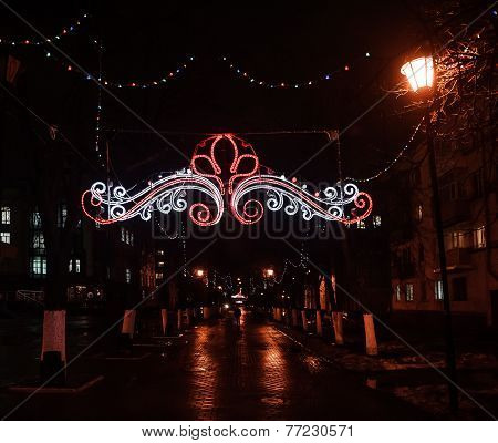 Street Illuminated For Christmas And New Year Holidays.