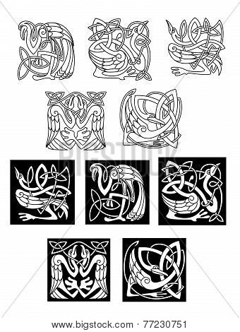 Stork and heron birds in celtic patterns