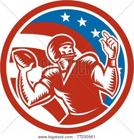 American Football Qb Throwing Usa Flag Retro