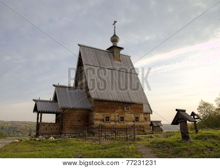 Wooden Church of the Resurrection (Voskresenskaya) (1699) on Levitan's mountain. Ples, Golden Ring o