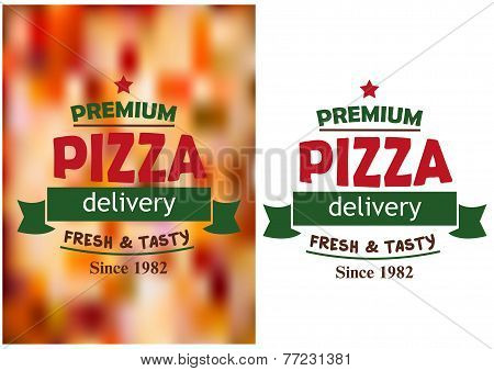 Pizza signs or labels for a pizzeria design