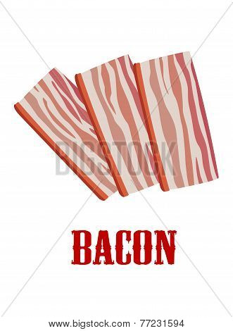 Cartoon bacon isolated on white