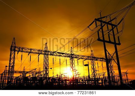Part Of High Voltage Substation At Sunset.