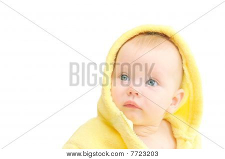 Small Child In Yellow Hood