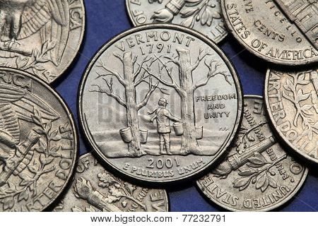 Coins of USA. Maple trees with sap buckets and Camel's Hump Mountain depicted on the US Vermont quarter (2001).