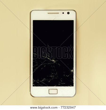 Broken smartphone screen