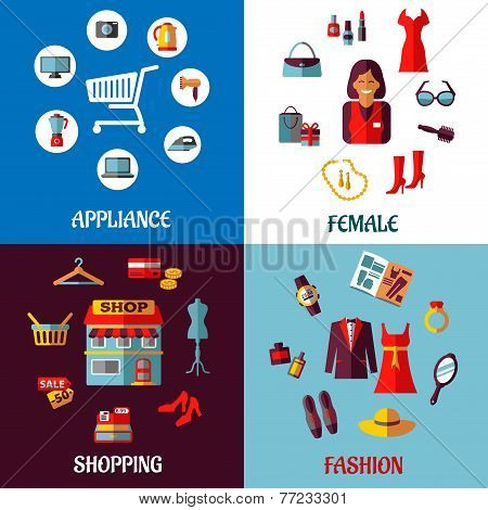 Set of flat colorful woman and appliance shopping designs