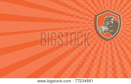 Business Card Wild Boar Razorback Head Side Shield Retro
