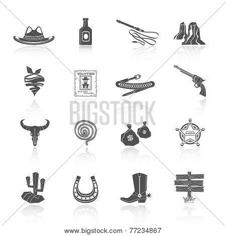 Cowboy Icons Black