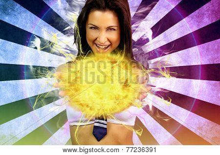 sexy schoolgirl making a fireball