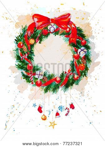 Christmas Garland isolated on the white background