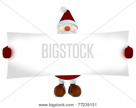 3D render of Santa Claus holding a wide paper