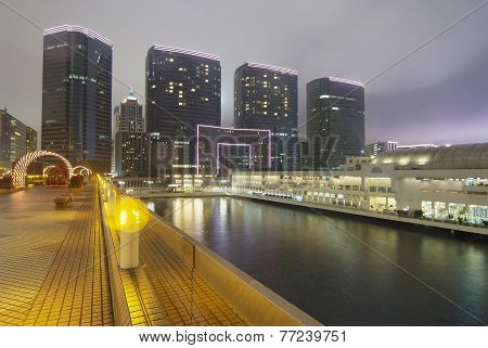 Deserted Quay In Night Of Hong Kong
