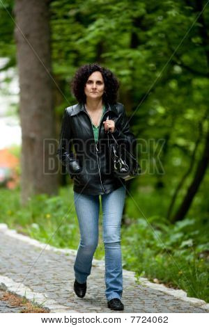 Attractive Woman Walking Outdoors