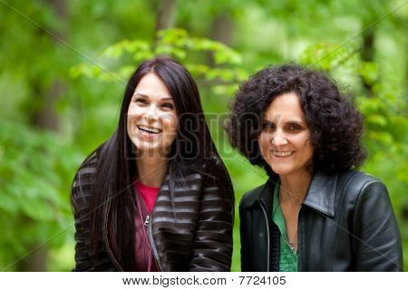 Cheerful Girlfriends Outdoor