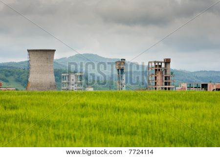 Industrial Ruin And Wheat Field