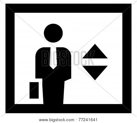 Businessman in elevator icon