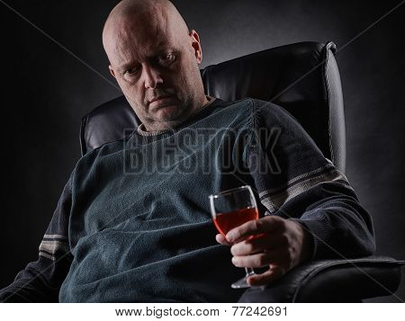 Depressed Middle Aged Alcoholic And Wine Glass