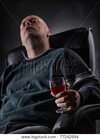 Sleeping Middle Aged Alcoholic And Wine Glass