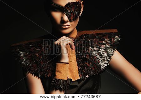 Serious Sexy Woman In Brown Leather Eyepatch
