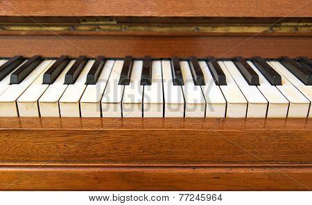 Closeup Of Antique Piano Keys